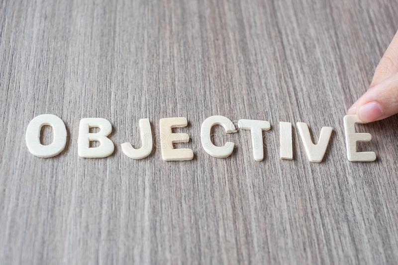 OBJECTIVE word of wooden alphabet letters. Business and Idea royalty free stock images