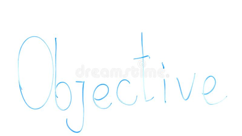 Objective word written on glass, task of marketing department, motivation royalty free stock photography