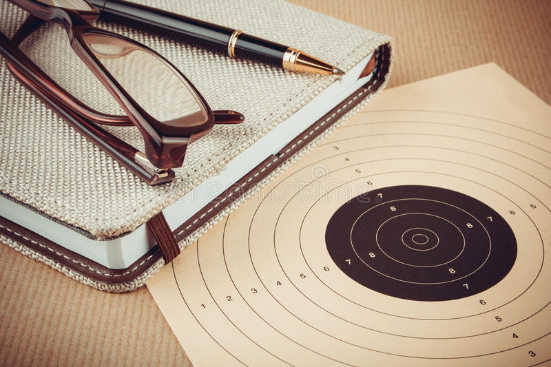Objectives and planning concept, goal setting. Goal setting with target, objectives and planning concept stock photos