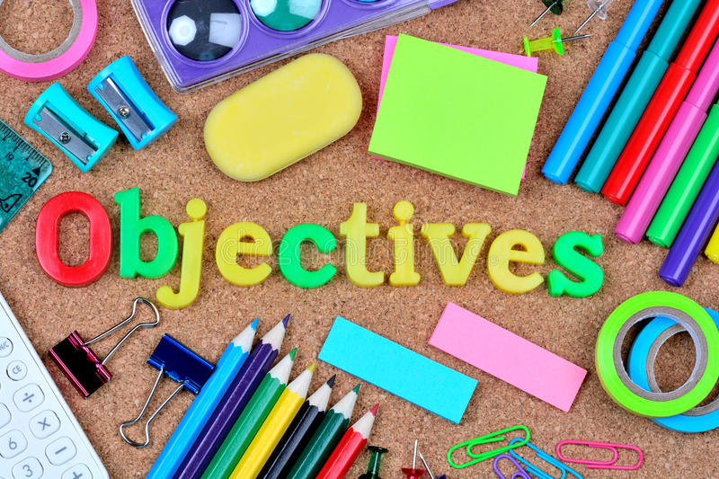 Objectives word on cork background. Closeup royalty free stock photo