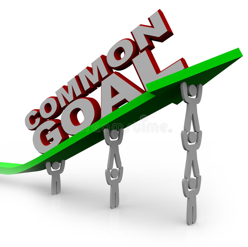 Objectivo comum - a equipe dos povos levanta a seta do crescimento ilustração do vetor