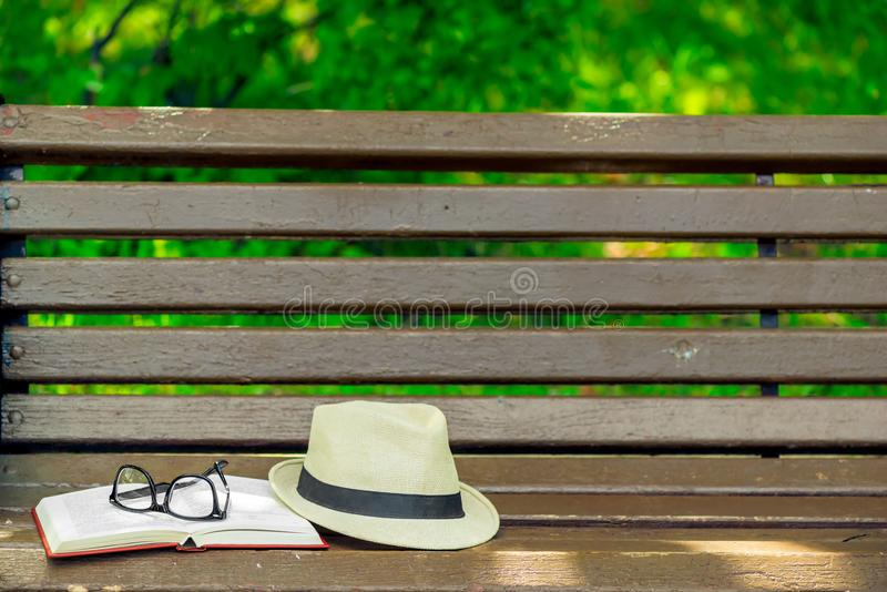objects on the bench and space royalty free stock photos