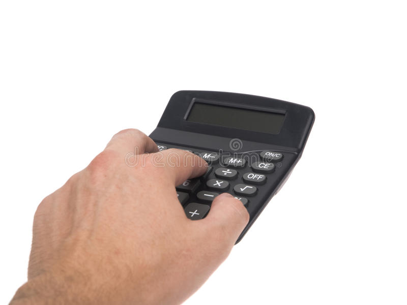Objects - Calculator Hand. Isolated studio shot of a hand using a generic calculator on a white background stock photos