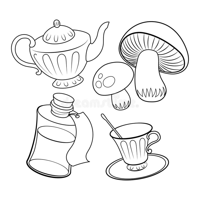 Download Objects From Fairy Tale Coloring Book Vector Stock