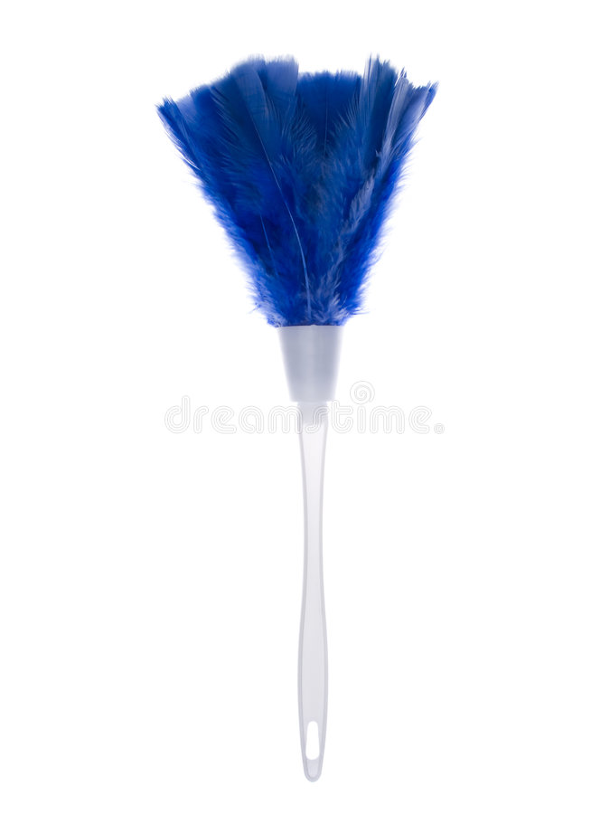 Objects - Feather Duster. A blue feather duster isolated on a white background stock photo