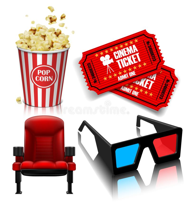 Objects for the film industry.on white background. 3D vector. High detailed realistic illustration royalty free illustration