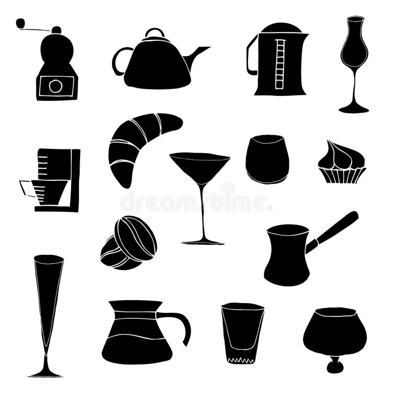 Objects and foods. Kitchen objects and foods, vector illustration, isolated on white vector illustration