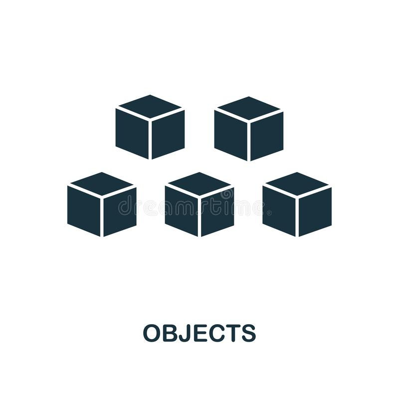 Objects icon. Monochrome style design from machine learning icon collection. UI and UX. Pixel perfect objects icon. For web design. Objects icon. Monochrome royalty free illustration