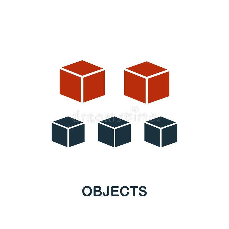 Objects icon in two color design. Red and black style elements from machine learning icons collection.  Creative objects icon. For. Web design, apps, software vector illustration