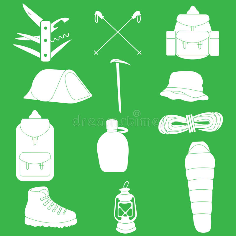 Objects necessary for hiking and mountain climbing stock illustration