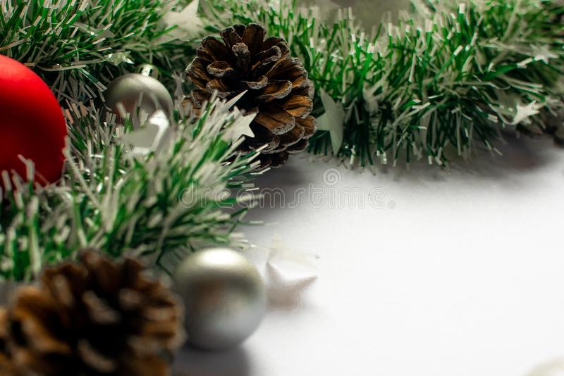 Objects New Year and Christmas decor. Items close up. Objects New Year and Christmas decor. Tinsel, toys, bumps stock photography