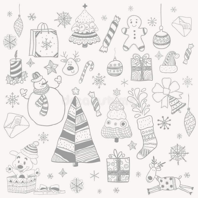 Objects New Year christmas tree snowman gifts Christmas decorations snowflakes stock photos