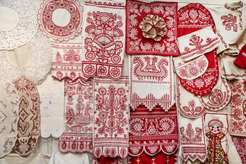 Objects of Russian folk art and crafts, embroidery, Arkhangelsk oblast. Russia royalty free stock photos