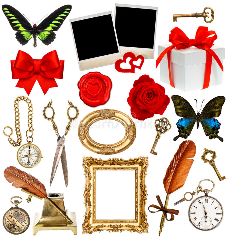 Objects for scrapbook. clock, key, photo frame, butterfly stock image