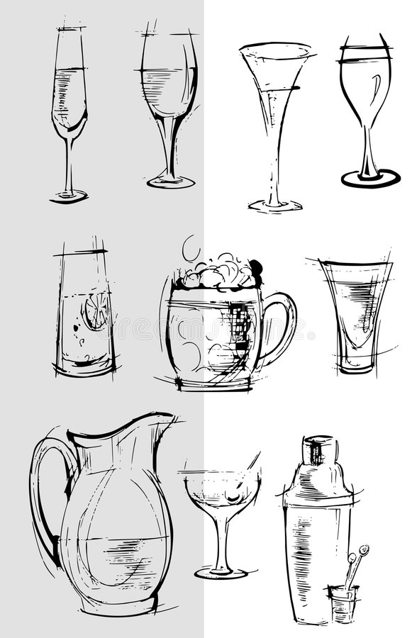 Download Glasses Background Cartoon Sketch Drawing Stock Illustration - Image: 8824456