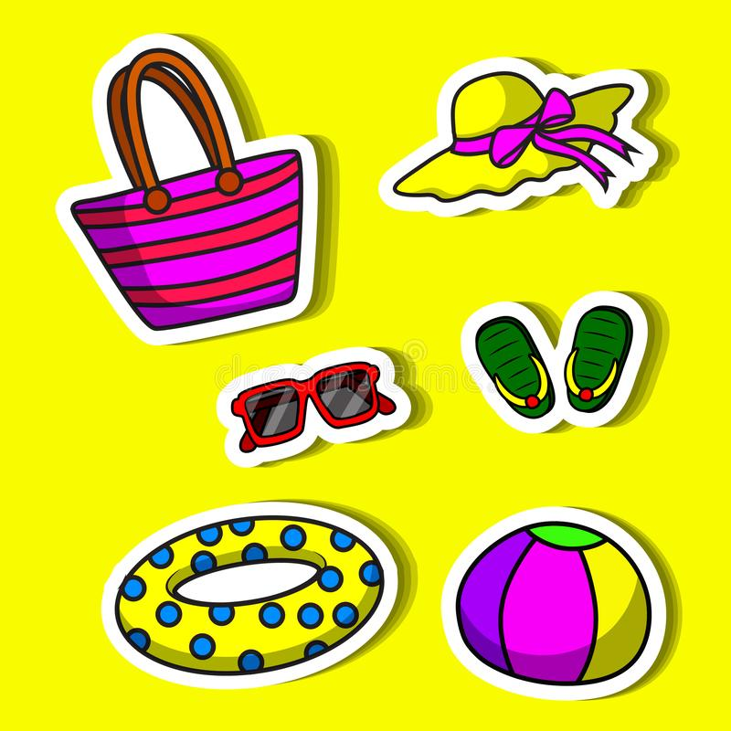 Objects of simple. Set objects of simple color illustrations royalty free illustration