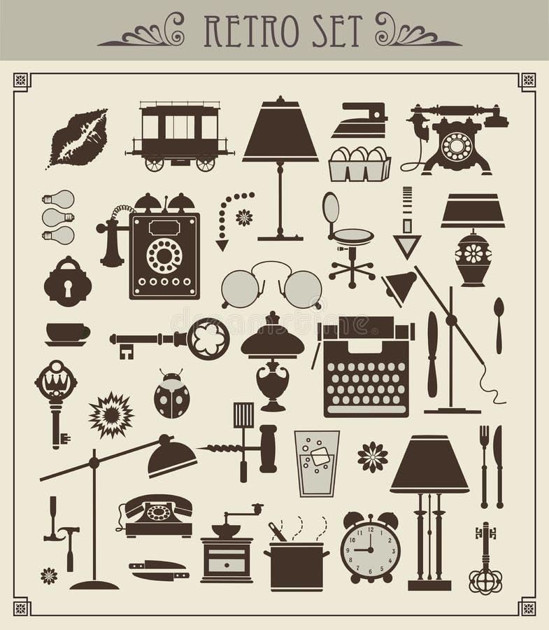 objects tappning stock illustrationer