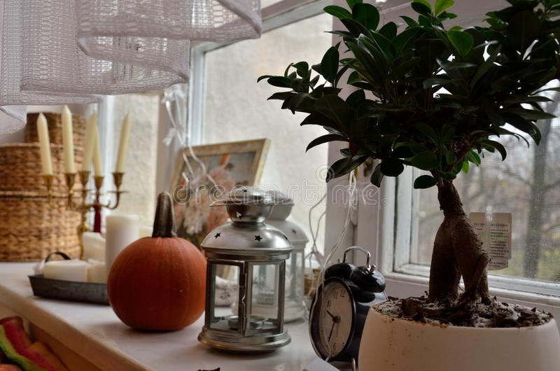 Objects on a window sill stock photography