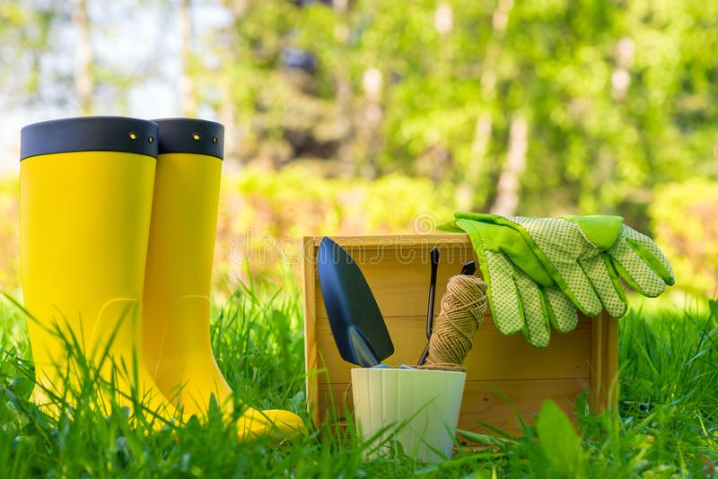objects for working with plants in the garden close up and yellow rubber boots gardener royalty free stock photo