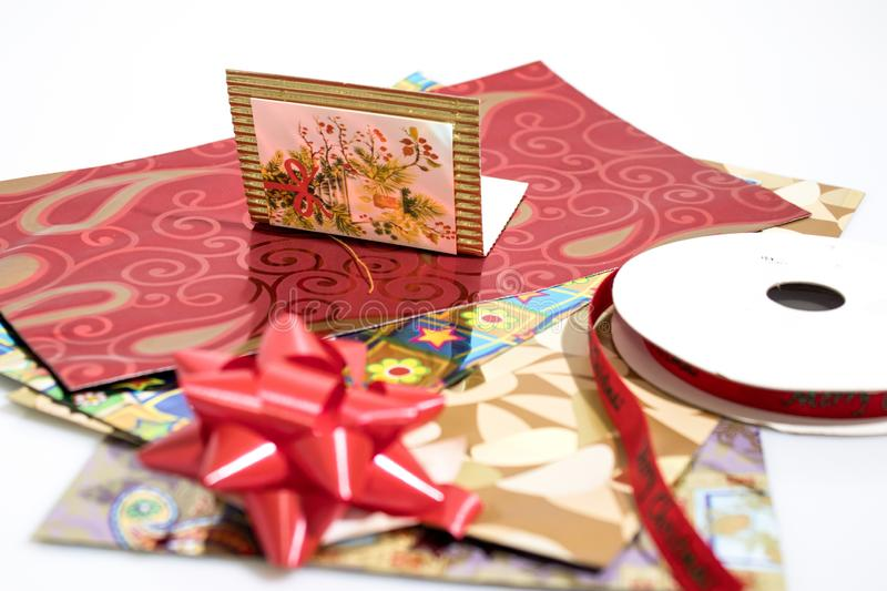 Objects for wrapping a christmas gift full of colors royalty free stock images