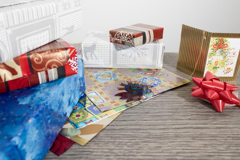 Objects for wrapping a christmas gift full of colors royalty free stock image