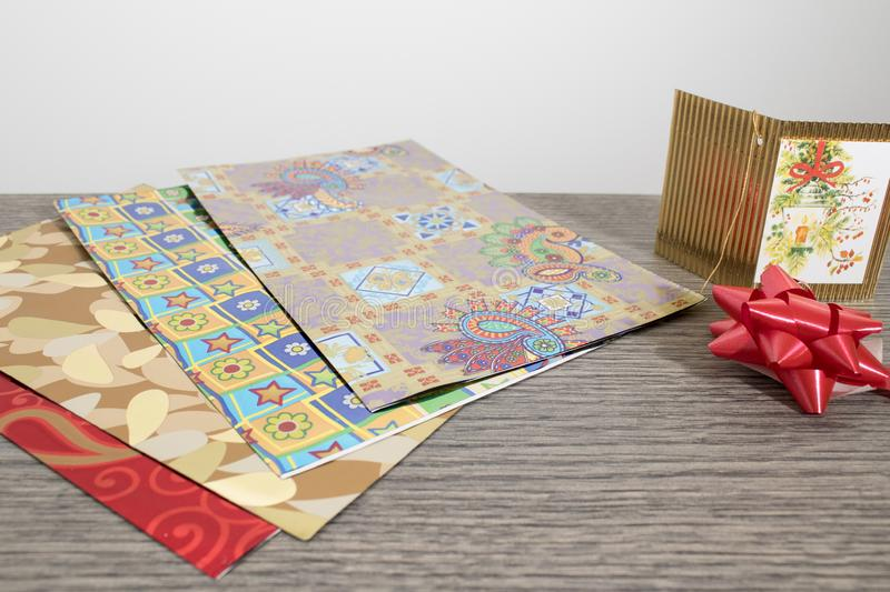 Objects for wrapping a christmas gift full of colors royalty free stock photos