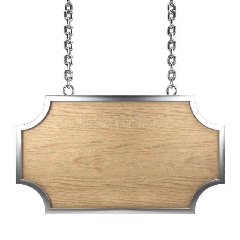 objekt över vitt trä för signboard vektor illustrationer