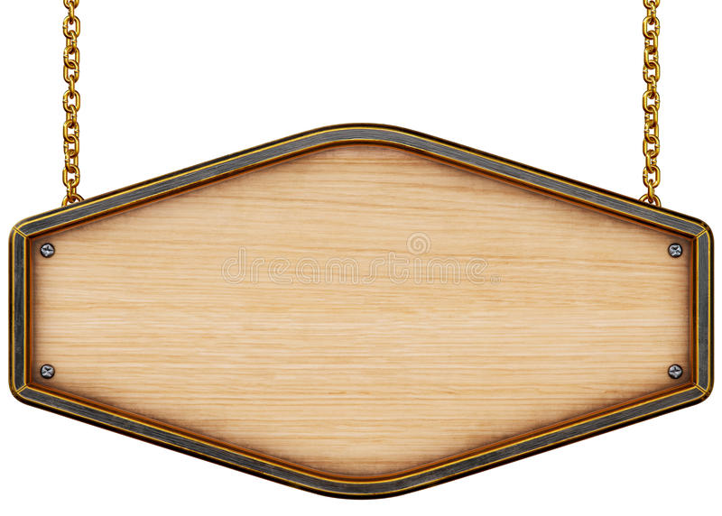 objekt över vitt trä för signboard royaltyfri illustrationer