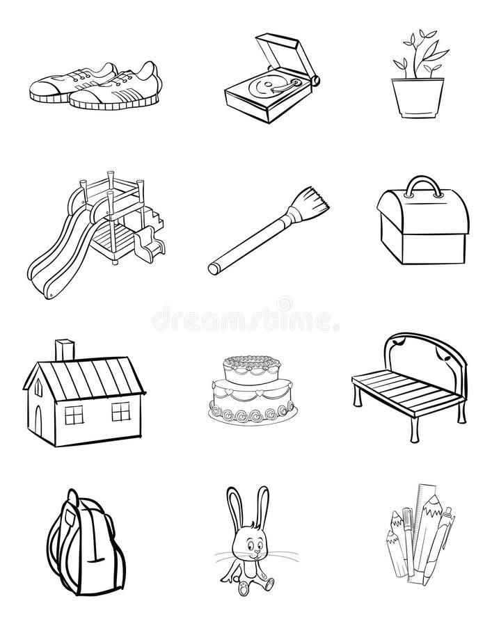objekt för 1 bokfärgläggning royaltyfri illustrationer