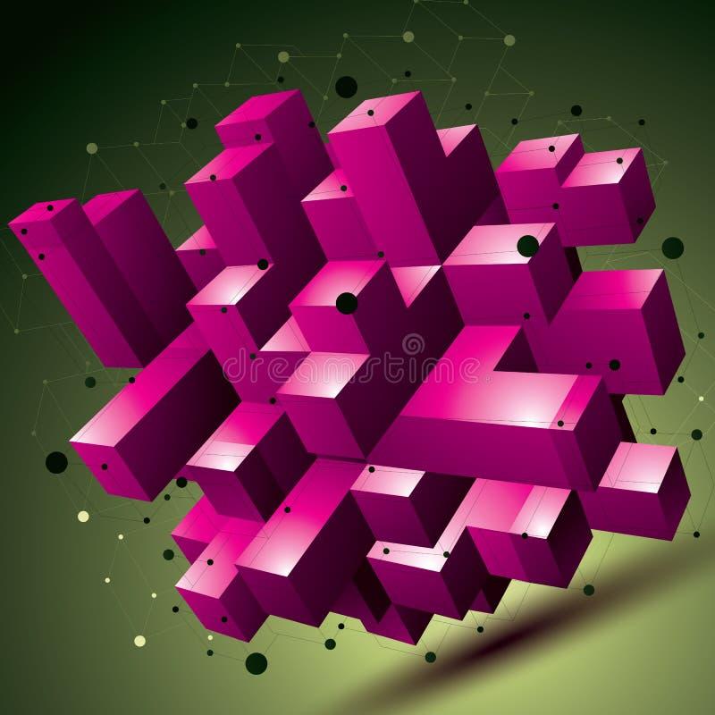 objekt för abstrakt begrepp för modern stil för ingrepp 3D färgrikt, origami stock illustrationer