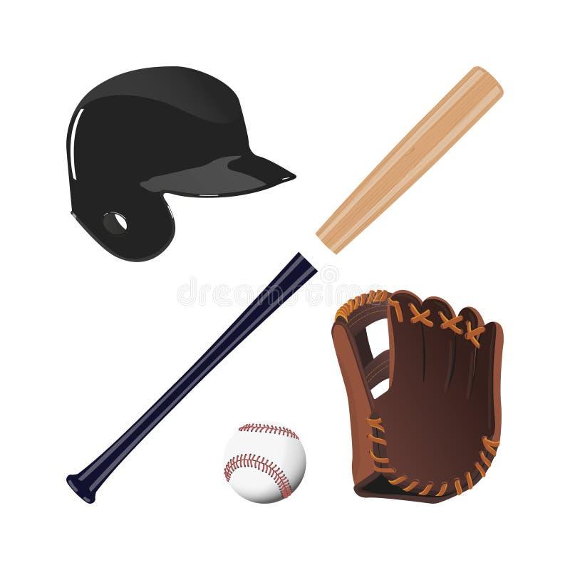 Objekt för baseball: bollen, handske, slagträ, hjälm stock illustrationer