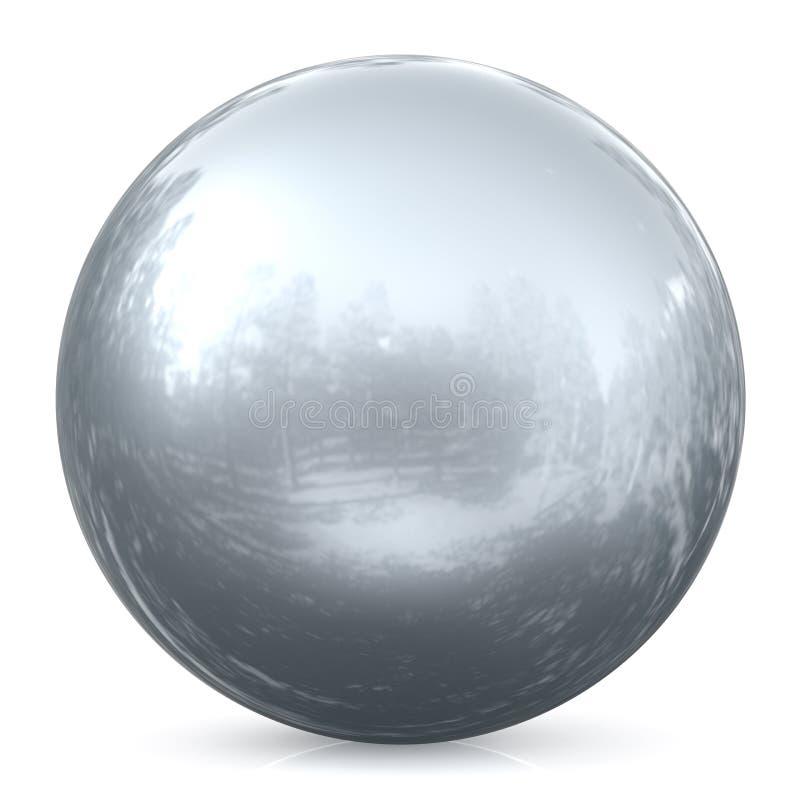 Objekt för cirkel för vit krom för boll för silver för sfärrundaknapp grundläggande stock illustrationer