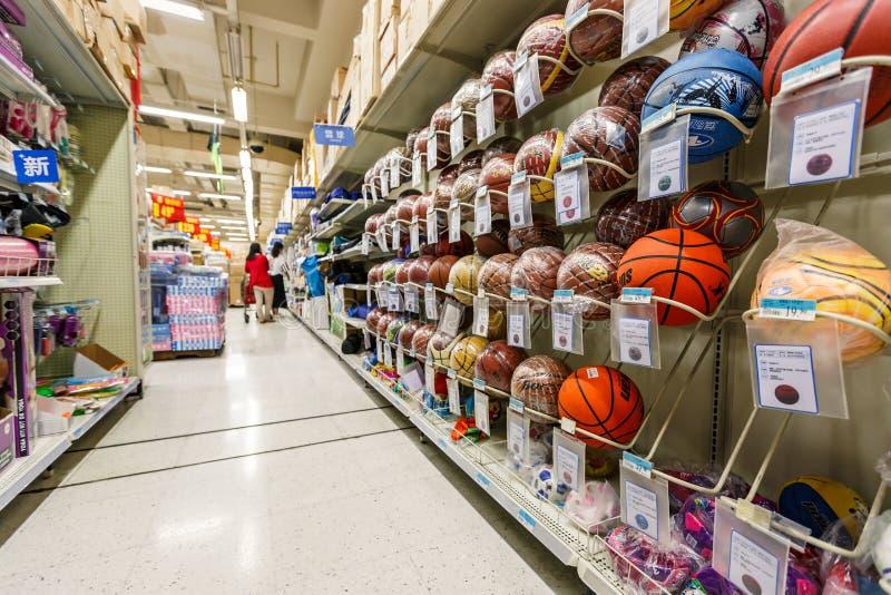 Objekt för detaljhandel för Kina hangzhou wal-marknad supermarket royaltyfria foton