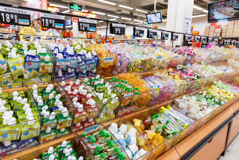 Objekt för detaljhandel för Kina hangzhou wal-marknad supermarket royaltyfri foto