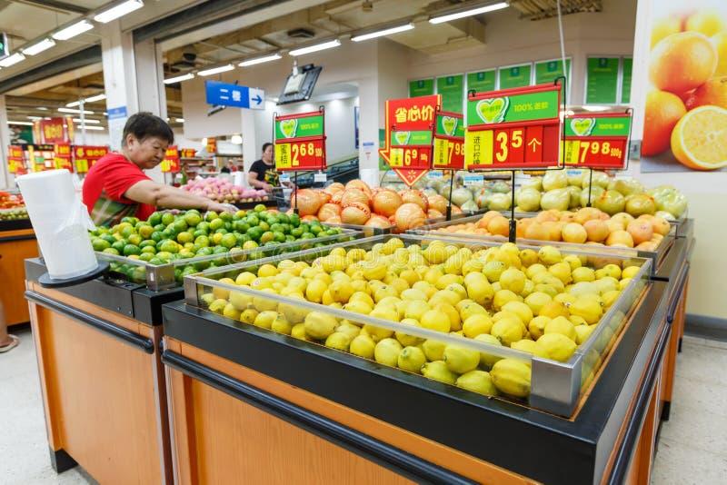 Objekt för detaljhandel för Kina hangzhou wal-marknad supermarket royaltyfri fotografi
