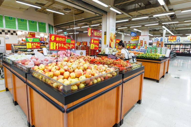 Objekt för detaljhandel för Kina hangzhou wal-marknad supermarket royaltyfria bilder