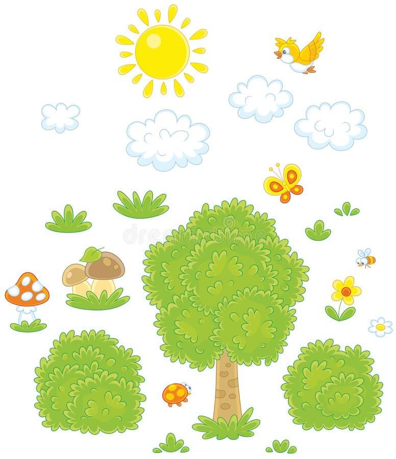 Objekt för ett skogsmarklandskap royaltyfri illustrationer