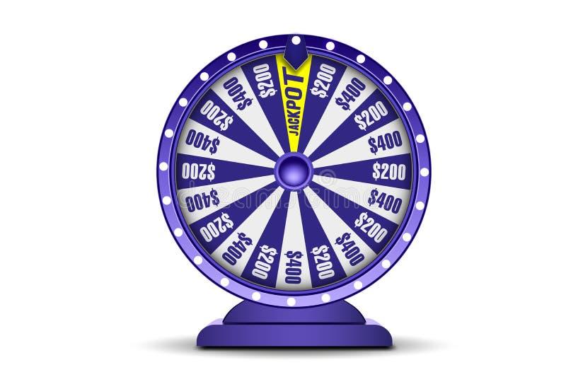 Objekt för förmögenhethjul som 3d isoleras på vit bakgrund Hjul av lycka Online-kasinobaner Pokerchiper som faller på en grön tab royaltyfri illustrationer