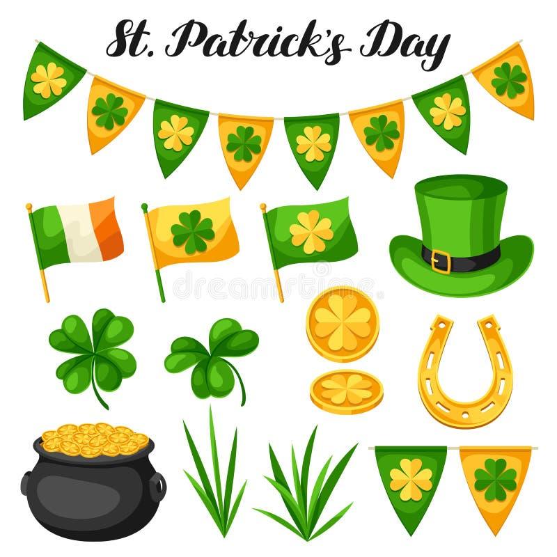 Objekt för helgonPatricks dag Sjunka Irland, krukan av guld- mynt, treklöverer, den gröna hatten och hästskon royaltyfri illustrationer