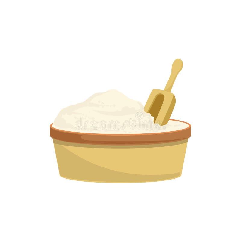 Objekt för kök för stekhet process för mjöl och för skopa isolerat utrustning stock illustrationer