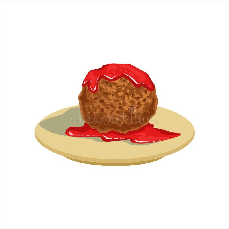 Objekt för mat för Gian Meatball With Tomato Salsa traditionellt mexicanskt kokkonstmaträtt från illustration för kafémenyvektor royaltyfri illustrationer