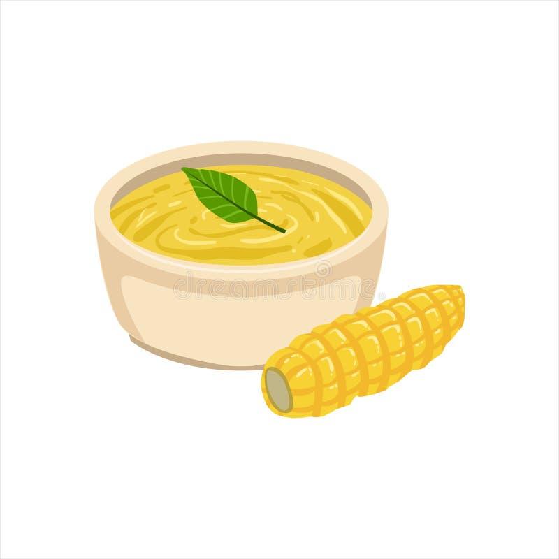 Objekt för mat för maträtt för kokkonst för havresoppa traditionellt mexicanskt från illustration för kafémenyvektor royaltyfri illustrationer