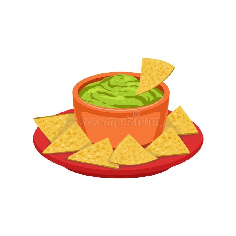 Objekt för mat för maträtt för NachosChips With Guacamole Traditional Mexican kokkonst från illustration för kafémenyvektor vektor illustrationer