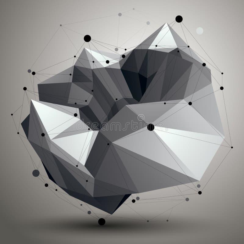 objekt för modern stil för ingrepp 3D abstrakt, futuristisk origami stock illustrationer