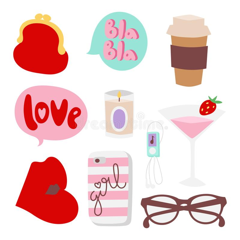 Objekt för shopping för stil för kvinna för flickamodetillbehör bearbetar tillfälliga och den härliga skönhetsmedlet eller makeup royaltyfri illustrationer