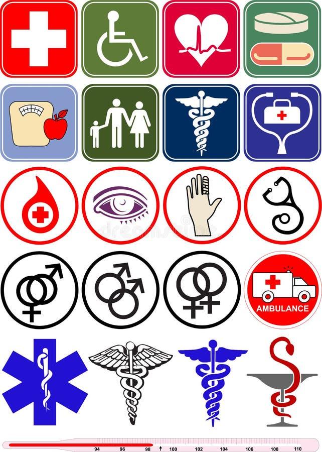 objekt för symbolslogoläkarundersökning royaltyfri illustrationer