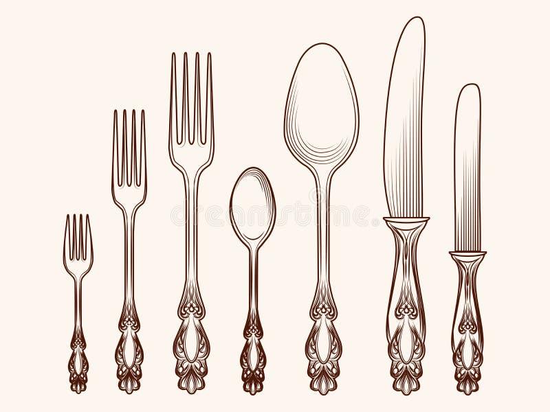 Objekt för tappningkökbestick skissar stock illustrationer