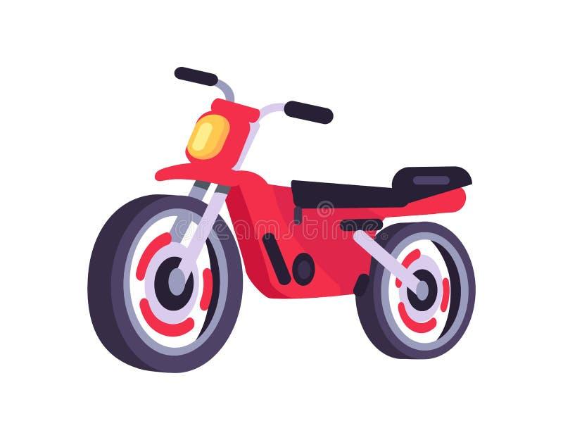 Objekt för transport för motorisk sparkcykel för röd moped stilfullt vektor illustrationer