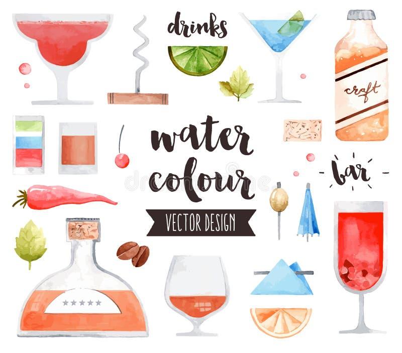 Objekt för vektor för alkoholdrinkvattenfärg royaltyfri illustrationer