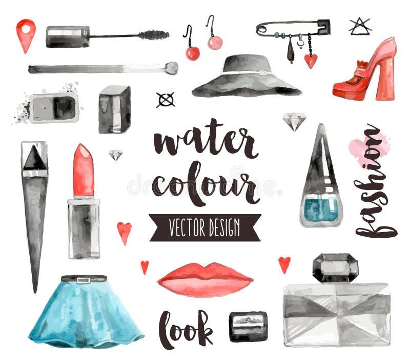 Objekt för vektor för makeuptillbehörvattenfärg stock illustrationer